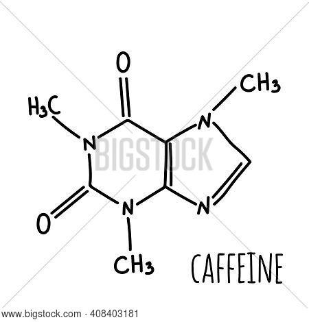 Molecular Structural Chemical Formula Of Caffeine. Vector Hand Drawn Illustration.