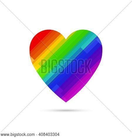 Lgbt Symbol Rainbow Heart Vector Icon Isolated On White Background.