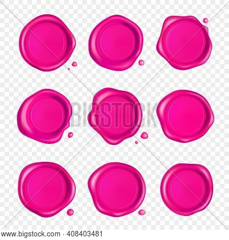 Pink Wax Seal Set. Wax Seal Stamp Set With Drops Isolated On Transparent Background. Realistic Guara