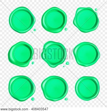 Green Wax Seal Set. Wax Seal Stamp Set With Drops Isolated On Transparent Background. Realistic Guar