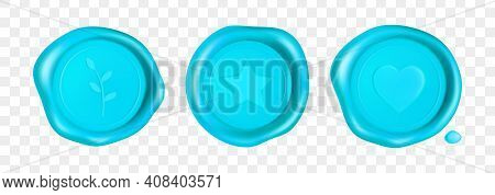 Cyan Wax Seal With Heart, Branch And Star. Stamp Wax Seal With Heart, Branch And Star Isolated On Tr