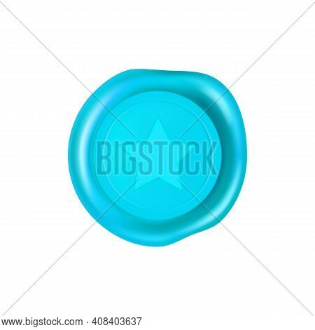 Cyan Wax Seal With Star. Wax Seal Stamp Isolated On White Background. Realistic Guaranteed Blue Stam