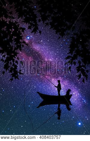 Man In Boat At Night. Fisherman Silhouette. Starry Sky And Milky Way