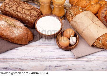 Preparing Dough For Baking. Process Of Making Homemade Bread. Organic Ingredients For Bread Preparat