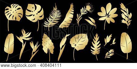 Set Of Golden Silhouettes Of Tropical Leaves