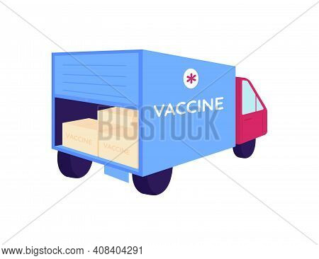 Vaccine Packages In Delivery Truck Flat Color Vector Object. Transportation Of Medical Supply. Medic