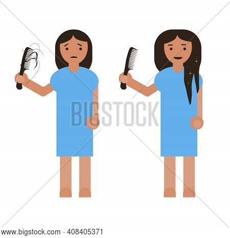 Flat Simple Sad Girl Holding A Comb In Hand With Hair Loss.early Baldness. Female With Hair Problem,