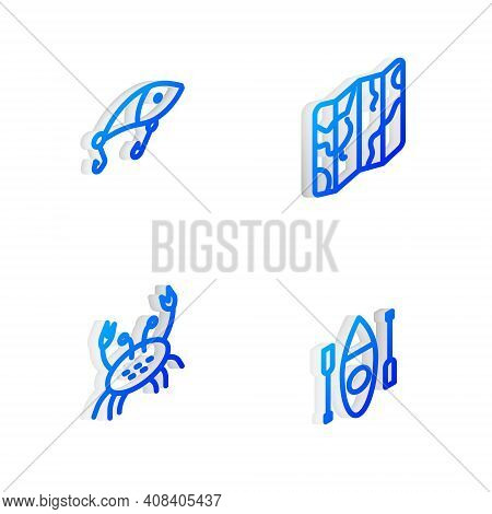 Set Isometric Line Folded Map, Fishing Lure, Crab And Kayak Or Canoe Icon. Vector