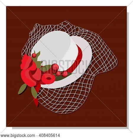 Elegant Hat With A Veil. Party Hat. Veil. Renaissance Costume.vector Illustration.