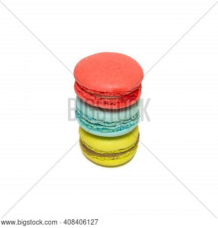 Macaroons Isolated In White Background. Tasty Sweet Color Macaroon, Bakery Concept. Colorful French