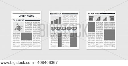 Newspaper Mockup. Template Of News And Magazines. Paper Page Of Journal With Article, Column And Hea