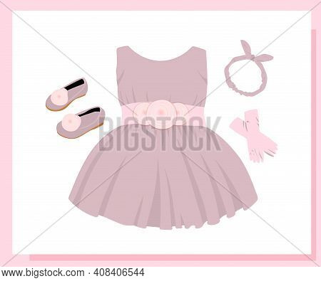Holiday Shoes For Girls, Children's Model Shoes. Beautiful Ball Gown Dress. Skirt With Tulle And Bow