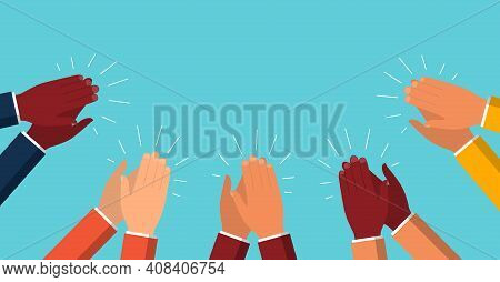 Clap Of Hand. Applause Of People. Applaud And Congratulations Of Success Business. Great Ovation Fro