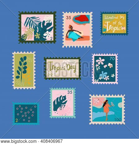 Set Of Trendy Floral Stamps. International Day Of The Tropics Vector  Postmarks.tropical Leaves, Lot