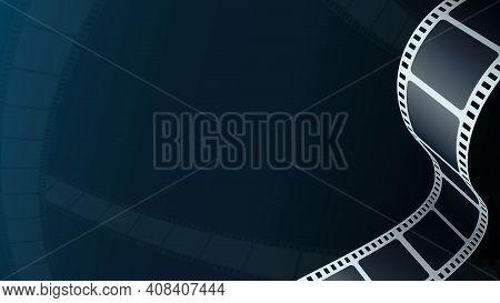 Cinema Background. Realistic Film Strip In Perspective. 3d Isometric Film Strip. Design Cinema Movie