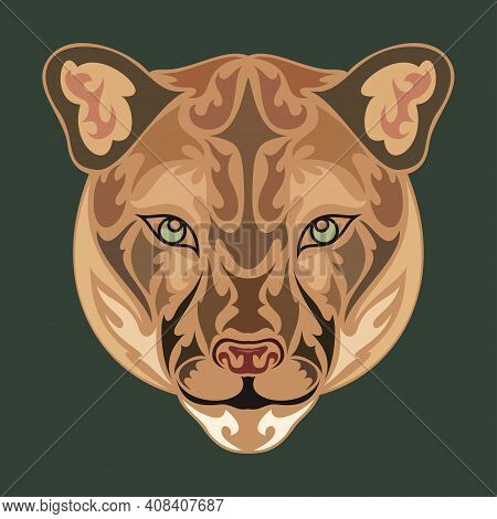 Hand Drawn Abstract Portrait Of A Puma. Vector Stylized Colorful Illustration For Tattoo, Logo, Wall