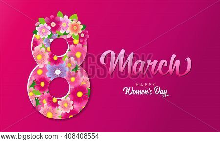 8 March, Happy Women's Day Lettering And Flowers Pink Poster. Greeting Card For International Womens