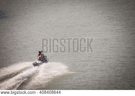Belgrade, Serbia - August 13, 2018: Two Persons Jetskiing On A Jet Ski On The Sava River, In Belgrad
