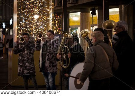 Belgrade, Serbia - December 26, 2020: Selective Focus On A Trumpet Player Of A Roma Music Band Playi