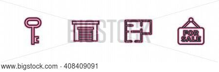 Set Line House Key, Plan, Garage And Hanging Sign With For Sale Icon. Vector