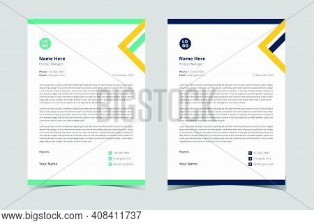 Modern Letterhead Template. Editable Letterhead Design. Professional Letterhead Template.