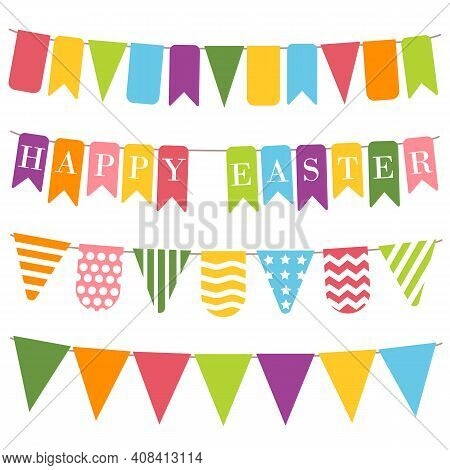 Happy Easter Bunting, White Background. Bunting Flags With Inscription Happy Easter. Easter Elements