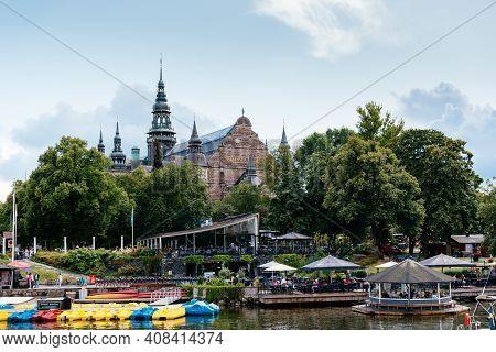 Stockholm, Sweden - August 9, 2019: Nordiska Museum And Floating Restaurant