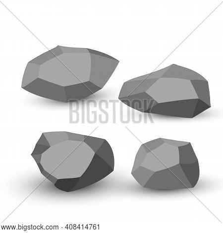 Cartoon Stones. Rock Stone Isometric Set. Granite Grey Boulders, Natural Building Block Shapes, Wall