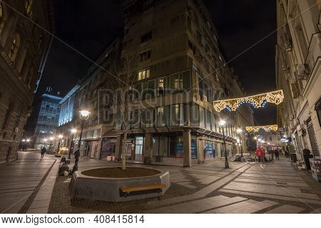 Belgrade, Serbia - December 10, 2020: Pedestrain Street Of Belgrade, Illuminated With Christmas Deco