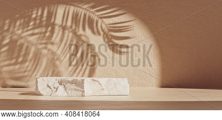 Natural Minimal Beauty Stone Podium Backdrop For Cosmetic Product Display With Palm Leaves Shadow. T