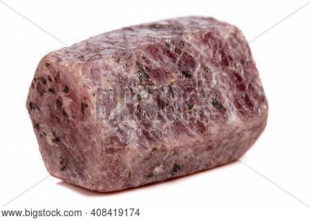 Macro Mineral Stone Ruby In The Breed A White Background