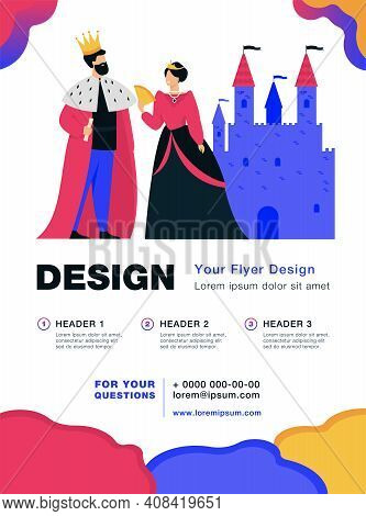 King And Queen Standing In Front Of Castle Flat Vector Illustration. Cartoon Monarchs As Symbol Of R
