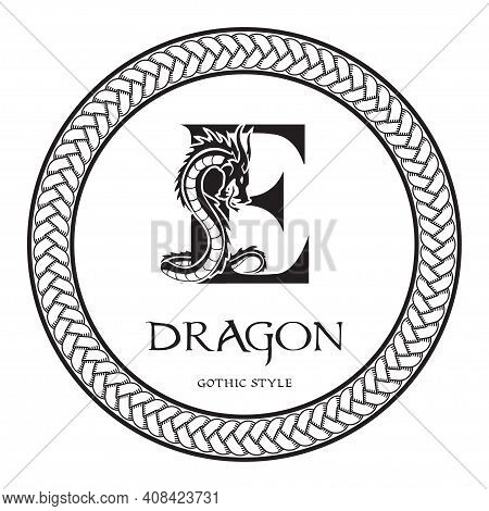 Dragon Silhouette Inside Capital Letter E. Elegant Gothic Dragon Logo With Tattoo Element. Heraldic