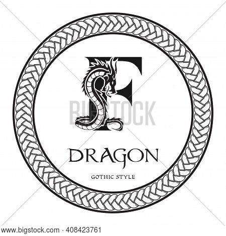 Dragon Silhouette Inside Capital Letter F. Elegant Gothic Dragon Logo With Tattoo Element. Heraldic