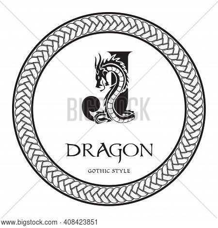 Dragon Silhouette Inside Capital Letter J. Elegant Gothic Dragon Logo With Tattoo Element. Heraldic