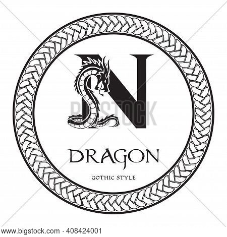 Dragon Silhouette Inside Capital Letter N. Elegant Gothic Dragon Logo With Tattoo Element. Heraldic