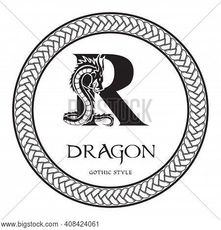 Dragon Silhouette Inside Capital Letter R. Elegant Gothic Dragon Logo With Tattoo Element. Heraldic