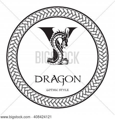 Dragon Silhouette Inside Capital Letter Y. Elegant Gothic Dragon Logo With Tattoo Element. Heraldic