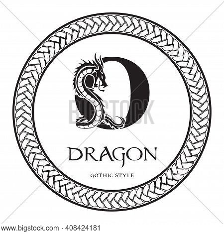Dragon Silhouette Inside Capital Letter O. Elegant Gothic Dragon Logo With Tattoo Element. Heraldic