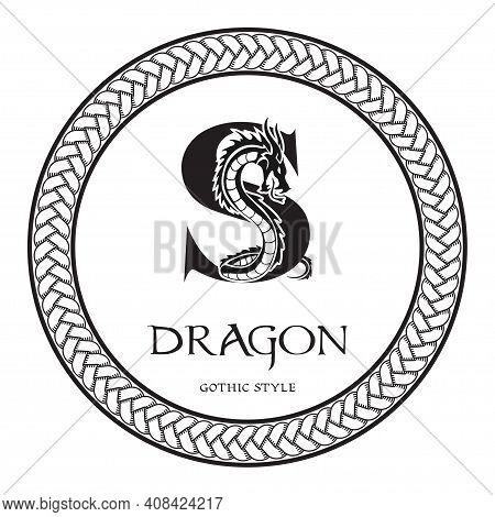 Dragon Silhouette Inside Capital Letter S. Elegant Gothic Dragon Logo With Tattoo Element. Heraldic