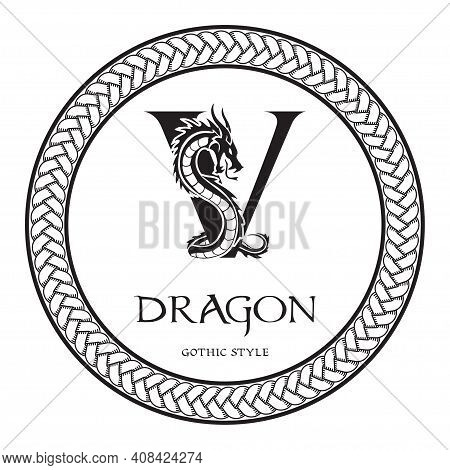 Dragon Silhouette Inside Capital Letter V. Elegant Gothic Dragon Logo With Tattoo Element. Heraldic