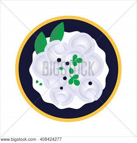 Pelmeni With Sour Cream - Russian Dumplings. Isolated Vector Illustration On White Background. Tradi