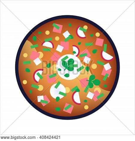 Okroshka On Kvas - Cold Russian Soup With Greens, Radishes, Potato, Eggs And Ham. Isolated Vector Il