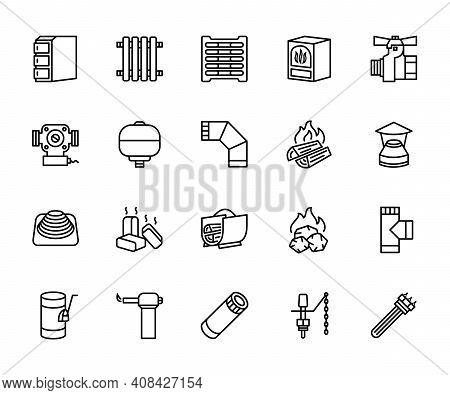 Heating Heat Supply Equipment. A Set Of Vector Icons In A Simple Style, Isolated On A White Backgrou
