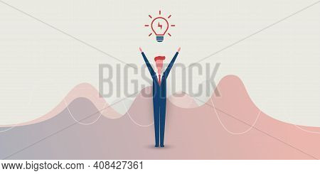 New Possibilities, Ideas, Hope, Dreams - Happy Business Man,  Arms Rised, Standing Under A Glowing L