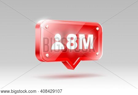 Thank You Followers Peoples, 8 Million Online Social Group, Happy Banner Celebrate, Vector