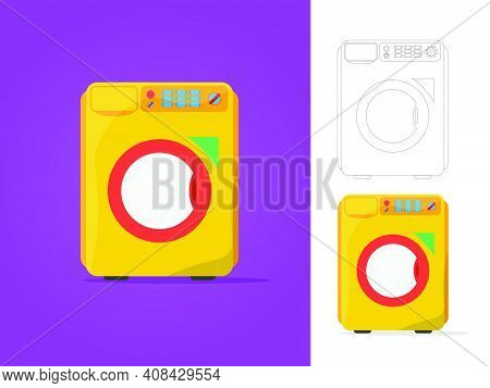Washing Machine Isolated. Front View, Close-up. Vector Illustration In Flat Style. Eps10