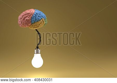 Brain Connected To Bulb Glowing Placed In Isolation, 3d Render