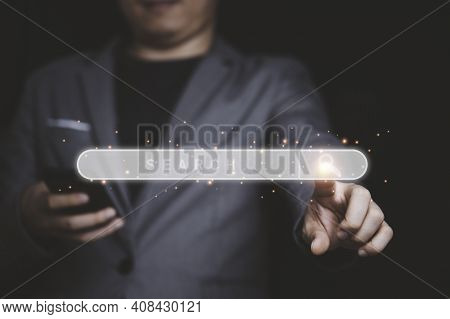 Businessman Touching To Searching Bar For Search Engine Optimization Or Seo Concept.