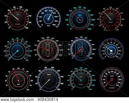 Car Dashboard Speedometer Round Indicators With Glowing Neon Light Kilometers And Miles Per Hour Sca